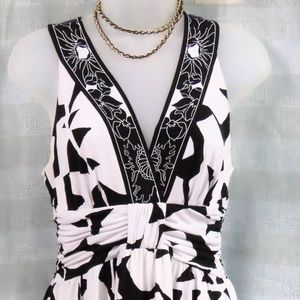 WHBM Black and White Stretchy Halter Top Dress